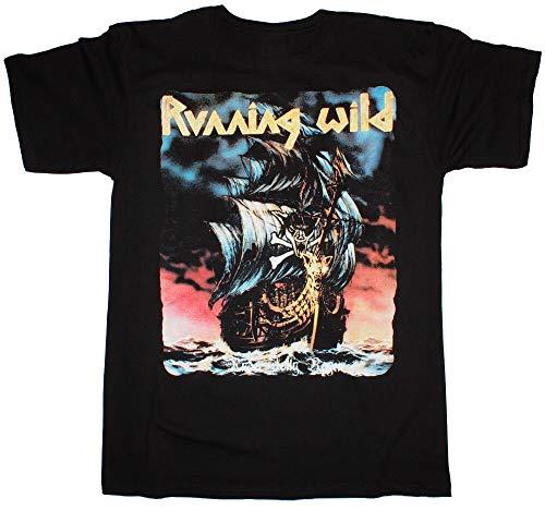 Running Wild Under Jolly Roger Grave Digger Blind Guardian New Black T-Shirt Black S