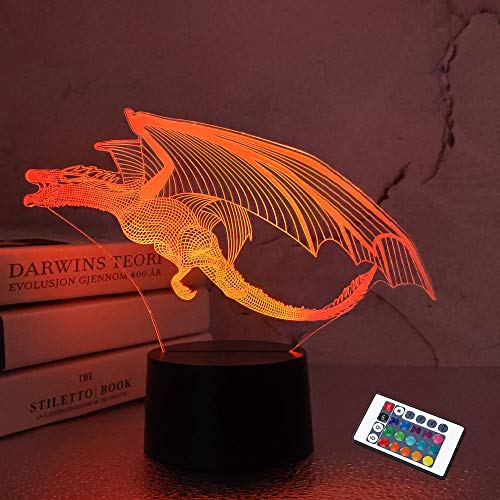 Drachen lampe Drachennachtlicht Kinder Nachtlicht, 16 Farben mit Remote 3D Optical Illusion Kinderlampe als perfektes Geschenk für Jungen und Mädchen am Geburtstag oder im Urlaub