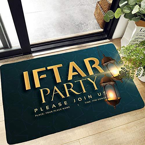YuPancjua Musulmán Halal Ramadan Impresión 3D Alfombra De Puerta Alfombra De Entrada Cocina Baño Alfombra Antideslizante Alfombra De Franela Suave Lavable 50X80Cm J12873