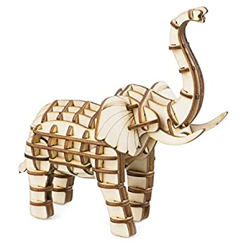 Rolife Build Your Own 3D Wooden Assembly Puzzle Wood Craft Kit Model Gifts for Kids and Adults  Elephant