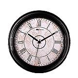 WJH Reloj de Pared rústico Vintage Reloj de Pared Decorativo 12 Pulgadas Retro Redondo Redondo Reloj de Pared silencioso Movimiento operado por batería sin tictac Fácil de Leer Reloj de Pared,Negro