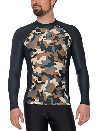 iQ-UV 6466054560-54XL T-Shirt Lycra Homme Slim Manches Longues UV 230 Camouflage, Vêtement Anti-UV Homme Olive FR: XL (Taille Fabricant: XL (54))