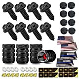 Aootf Black License Plate Screws- Stainless Steel Screws with Caps for Car Tag Frame, Rust Proof Mount Hardware Kit- M6 (1/4') Screws, Inserts, Rattle Proof Pads, Gift- Tire Valve Caps & Flag Decals