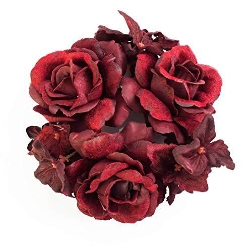 artplants.de Set 3 x Deko Ring mit Rosenköpfen, Hortensienblüten, dunkelrot, Ø 10cm - 3 Stück - Serviettenringe - Kerzenring