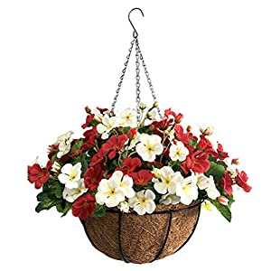 Silk Flower Arrangements Lopkey Hanging Basket with Artificial Flowers Begonia Wall Coconut Palm Basket Artificial Hanging Flower Plant for Outdoor Patio Lawn Garden (Red-White 12inch)