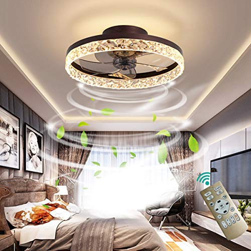 OMGPFR Deckenventilator mit Beleuchtung LED Licht, Luxus Kristall Deckenleuchte, Mit Fernbedienung dimmbar, Modern Ruhig Deckenventilatorlampe für Wohnzimmer Schlafzimmer, Wendbarer Lüfter,Braun