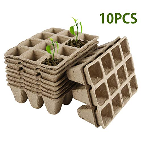 KiMiLIKE 10pcs la Culture de semences Plateau Biodégradable Papier Plante en Pot Semis Herb semences Pépinière Cup Kit Plantes Bio Peat Pots pour Plantes d'intérieur et d'extérieur