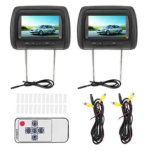 Qiilu Reposacabezas del jugador del coche, 2pcs 7 in Control inalámbrico Coche Reproductor MP5 Reposacabezas ajustable LCD Video Player USB MP5 Display, Negro
