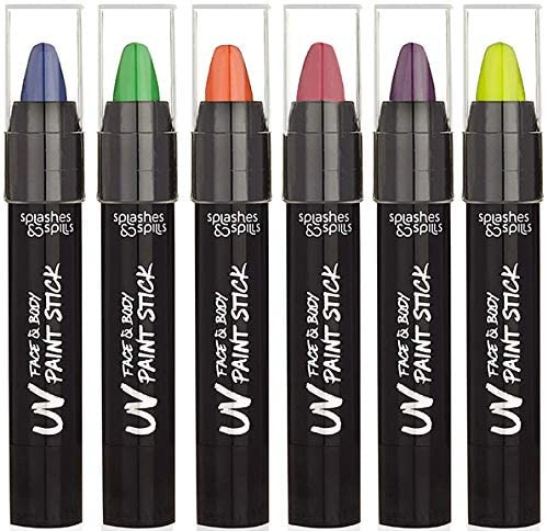 UV Face and Body Paint Sticks - Costume, Halloween and Club Makeup - Safe for all Skin Types - Easy On and Off - by S...
