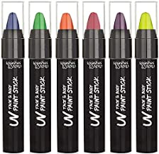 UV Face and Body Paint Sticks - Costume, Halloween and Club Makeup - Safe for all Skin Types - Easy On and Off - by Splashes & Spills (6 Pack)
