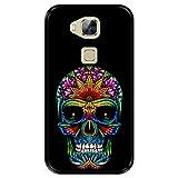 Funda Negra para [ Huawei G8 - GX8 ] diseño [ Día de los Muertos, Calavera Tatuada ] Carcasa Silicona Flexible TPU
