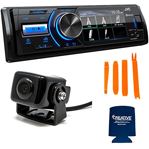 JVC Stereo Package KD-X560BT 3 Inch LCD Marine Media Receiver Compatible with Front Camera