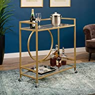 "Sauder International Lux Bar Cart, L: 35.59"" x W: 15.75"" x H: 37.21"", Satin Gold"
