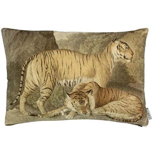 Engelnburg hoogwaardig sierkussen sofakussen kussen tijger fluweel bruin 40x60cm