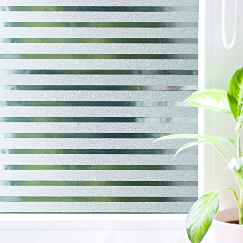 Wopeite Frosted Stripe Window Film Static Cling Privacy Window Cling Stained Glass Decorative Films for Meeting Room Home Office Meeting Rooms Glass Window Doors 17.7 X 78.7 inches£¬2Pack