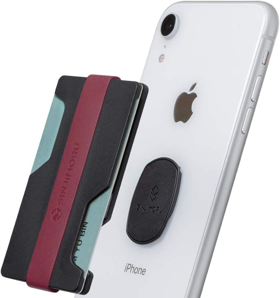Sinjimoru Hybrid Minimalist Carteras de Tarjetas para Hombres y Mujeres, Cartera de teléfono móvil Desmontable para Tarjetas de crédito, Sinji Mount Z-Slot. (Rojo Vino, Negro)