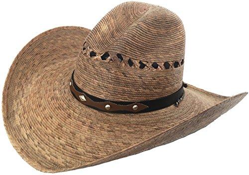 Mexican Palm Western Sombrero Cowboy Hat Safari Sun Lifeguard Gardener SPF Big Brim (Medium/Large, Brown Gus Crown)