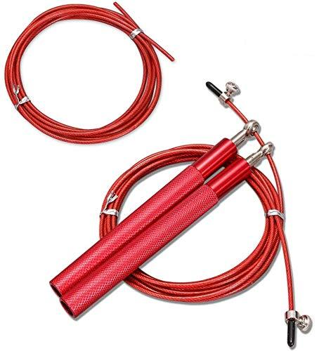 ボディービルのための調節可能な長さの縄跳びロープ, の動きをスキップ子供大人ユニバーサル ,アルミ合金ハンドル付きハイス鋼線スキップロープ,2つのロープ (赤)