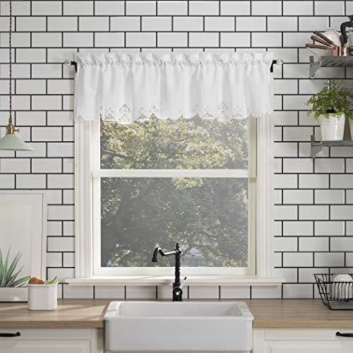 "No. 918 Mariela Floral Trim Semi-Sheer Rod Pocket Kitchen Curtain Valance, 58"" x 14"", White"