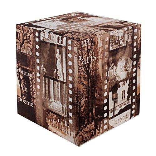 Sitzwürfel bedruckt Paris braun-weiß 35 cm x 35 cm x 42 cm