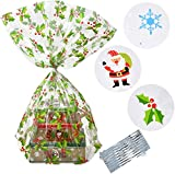 Gift Boutique Plastic Jumbo Christmas Cello Basket Bags, Christmas Cookie Tray Bags Pack o...