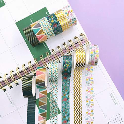 Yubbaex綺麗なマスキングテープ金箔押し15mm幅x6巻薄いですプレゼント包装、DIY工芸品、ノートの装飾に使える(パリの思x6巻)