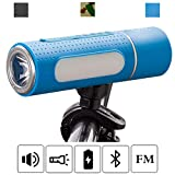 YOUANDMI Luz Bicicleta,IP5 Impermeable 6000mAh Portatiles Manos Libres Altavoz Bluetooth Set con USB Recargable Powerbank,Radio Transmisor FM, LED Luces para Bicicleta de Montaña,Bike,Outdoor,Blue