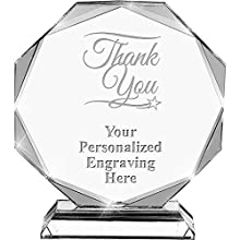 THANK YOU AWARD: Each Each Crystal Award Trophy Features A Crystal Octagon With Beveled Edges, Making It A Stand Out Award. CUSTOM AWARDS: Customize Now With Your Own Text Engraving! Our Design Experts Personalize Each Personalized Crystal Award With...