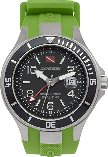 Cressi Unisex Traveller Dual Time Dive Watch, Silver/Black/Green, One Siz