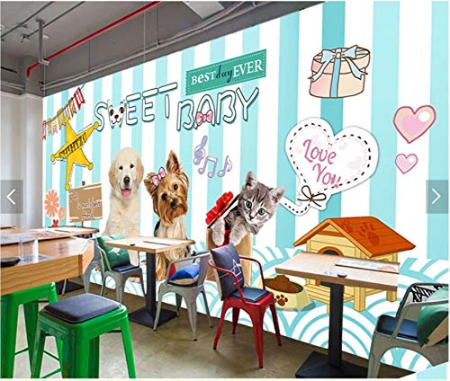 Yirenfeng Übergeben Sie gezogene Karikaturkatzenhundekrankenhausklinikmode-Haustiershop-Schönheitssalon-Hintergrundwand
