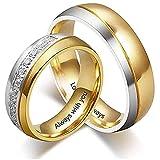 Anillo de pareja personalizado para hombres mujeres anillo de bodas anillos de compromiso grabado gratuito de eternidad (1 pair, 1 pair)
