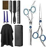 Accessoires professionnels Barber, TOPQSC 9 ciseaux de coupe de cheveux PCS, Cisailles à effiler, Peigne de rasoir à cheveux, Clips, Cape, Portefeuille ciseaux, Kit de ciseaux de coiffure
