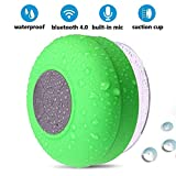 BONBON Bluetooth Shower Speaker Waterproof Bathroom Music - Handsfree Portable Speakerphone with Built-in Mic,4hrs of Playtime, Wireless Bluetooth Suction Cup for Showers,Pool,Outdoor(Green)