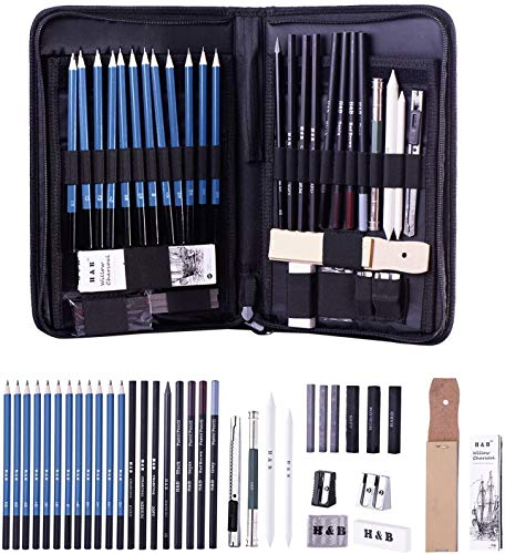 H & B 40 Stück Bleistifte Skizzierstifte Set Skizzieren und Zeichnen Professionelle Art Set mit Graphitkohlestifte Sticks Werkzeuge und Kit Bag