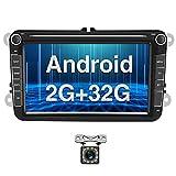 Radio para Coche Android para VW GPS 2G+32G Camecho 8'' Pantalla Táctil Bluetooth Car Reproductor Estéreo WiFi FM Radio Receptor Dual USB para VW Golf Polo Touran Tiguan Seat Altea