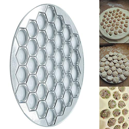 Ghair2 37 Löcher Mulde Maker Form, Aluminium-Legierung, Ravioli-Maker Mold Gebäck Dumpling Kitchen DIY Tools Pelmeni Dumpling Pie Ravioli Form Presse Form Maker Gebäck Werkzeug zum Kochen Backen