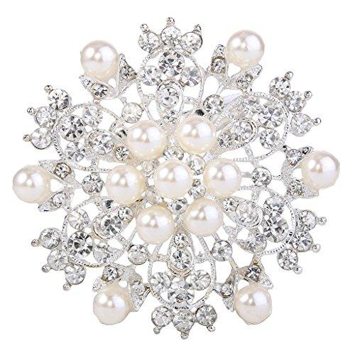 EVER FAITH Austrian Crystal Cream Simulated Pearl Elegant Flower Corsage Brooch Clear Silver-Tone