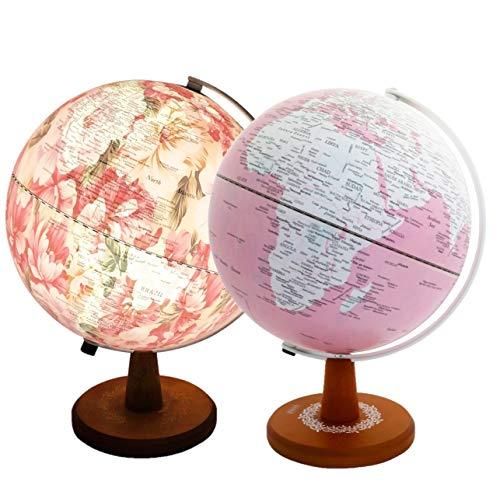 Exerz 25cm in rosa gefarbeten Globus mit LED-Licht, versteckter Aufdruck von Blumenbildern innen, wenn beleuchtet. Verpackung in hochwertiger Kraftbox, ideal zum Verschenken.