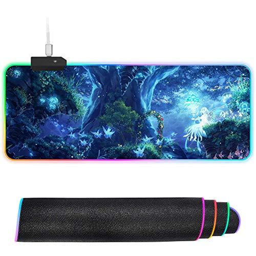 XIAOYANG Alfombrilla de ratón RGB de gran tamaño con LED brillante, antideslizante, base de goma, alfombrilla de teclado para ordenador, raza eléctrica, 300 x 400 x 4 mm