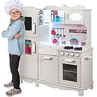 Kinderholzküche Kinderküche Holzküche Kinderspielküche Weiss Spielzeugküche LED GS0053 Spielküche mit Schränken aus Holz extra große Holzküche Kinder Spielzeug aus Holz Spülbecken mit Wasserhahn