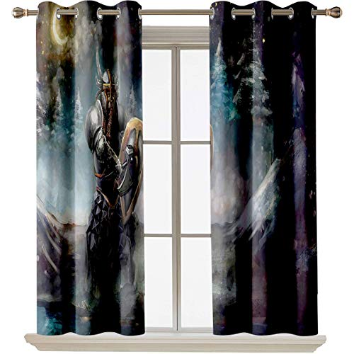 "Fantasy best home fashion thermal insulated blackout curtains Medival Dwarf Knight in Gothic Shield at Battle Place Winter Illustration Suitable forProtect furniture W63""x L45"" Grey Light Blue Gold"