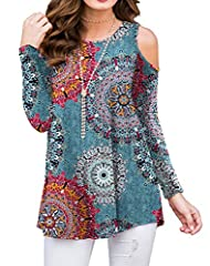 US SIZE:S=(US 4-6),M=(US 8-10),L=(US 12-14),XL=(US 16-18),2XL(20-41),Tips: light-color clothes match light or flesh bra will be better. Super cute, cold shoulder, loose, soft, comfortable, stretchy, skin-friendly. cold shoulder blouse, loose blouse, ...