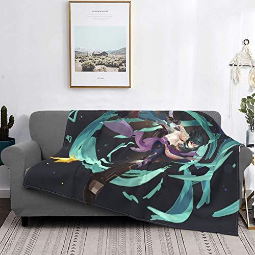 G-Enshin Manta de impacto, manta de felpa ultra suave, manta de forro polar para sofá cama y sala de estar 132 x 102 cm