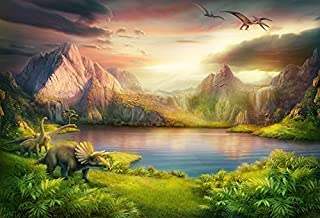 Baocicco 7x5ft Dinosaurs Theme Backdrop Boy Birthday Party Backdrop Jurassic Mesozoic Cretaceous Epoch Forest Mountains Lake Prehistoric Trees Grassland Archaeology Children Photography Background