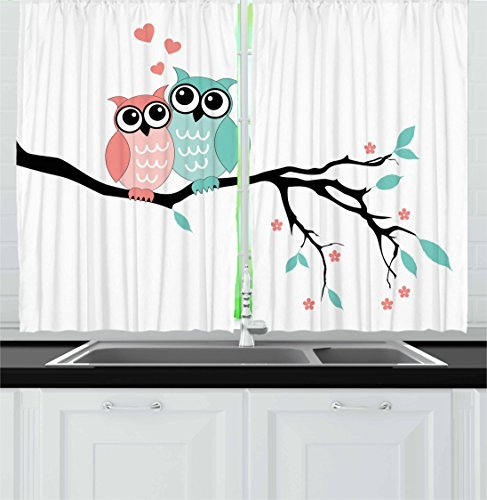"""Ambesonne Teal and White Kitchen Curtains, Owl Couple Sitting on Tree Branch Valentines Romance Love, Window Drapes 2 Panel Set for Kitchen Cafe Decor, 55"""" X 39"""", Turquoise Black"""