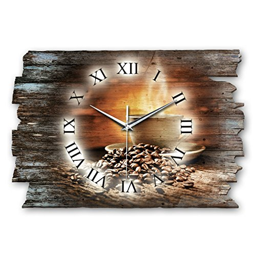 Kreative Feder Kaffee Genuss Shabby Style Designer Wanduhr Funkuhr aus Holz *Made in Germany leise...