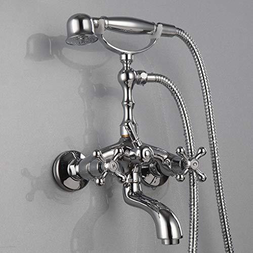 LyMei Dusch-Set, Telefonzelle-Gold und Silber-Kupfer-Antik-Design - elegant und schön-Halter für Luxus-Badezimmer-Dusche-Set,Silver