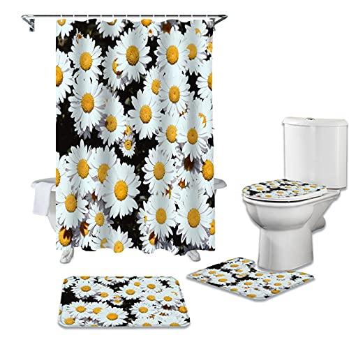 Eighty-Eight - Cortina de ducha con diseño de flores pequeñas y margaritas, color blanco