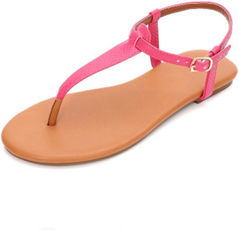 Weiwei Women's Flat Sandals and Slippers, Roman Flat Sandals T Flat Hollow Flat Sandals