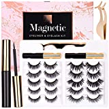 Magnetic Eyelashes with Eyeliner Kit- 2 Tubes of Magnetic Eyeliner & 10 Pairs Magnetic Eyelashes Kit - Updated 6D, With Natural Look & Reusable False lashes - No Glue Need